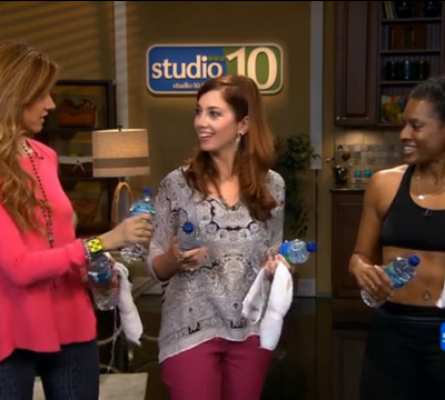 Rag/Water bottle workout on Studio 10